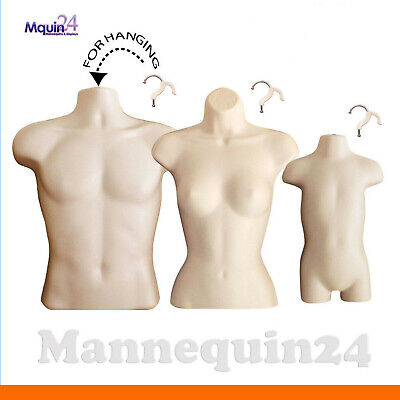 Male Female Toddler Torso Mannequin Set - 3 Flesh Hanging Dress Forms