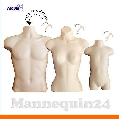 Male Female Toddler Torso Mannequin Set - 3 Flesh Hanging Dress Forms