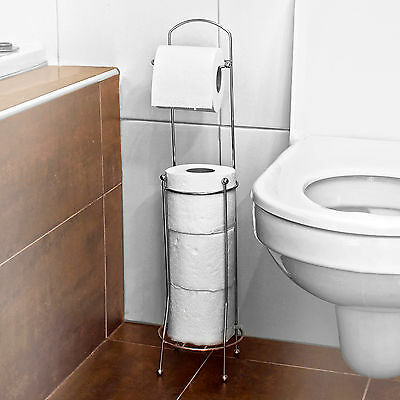 Free Standing 4 Roll Bathroom Toilet Paper Tissue Dispenser Storage Holder Stand