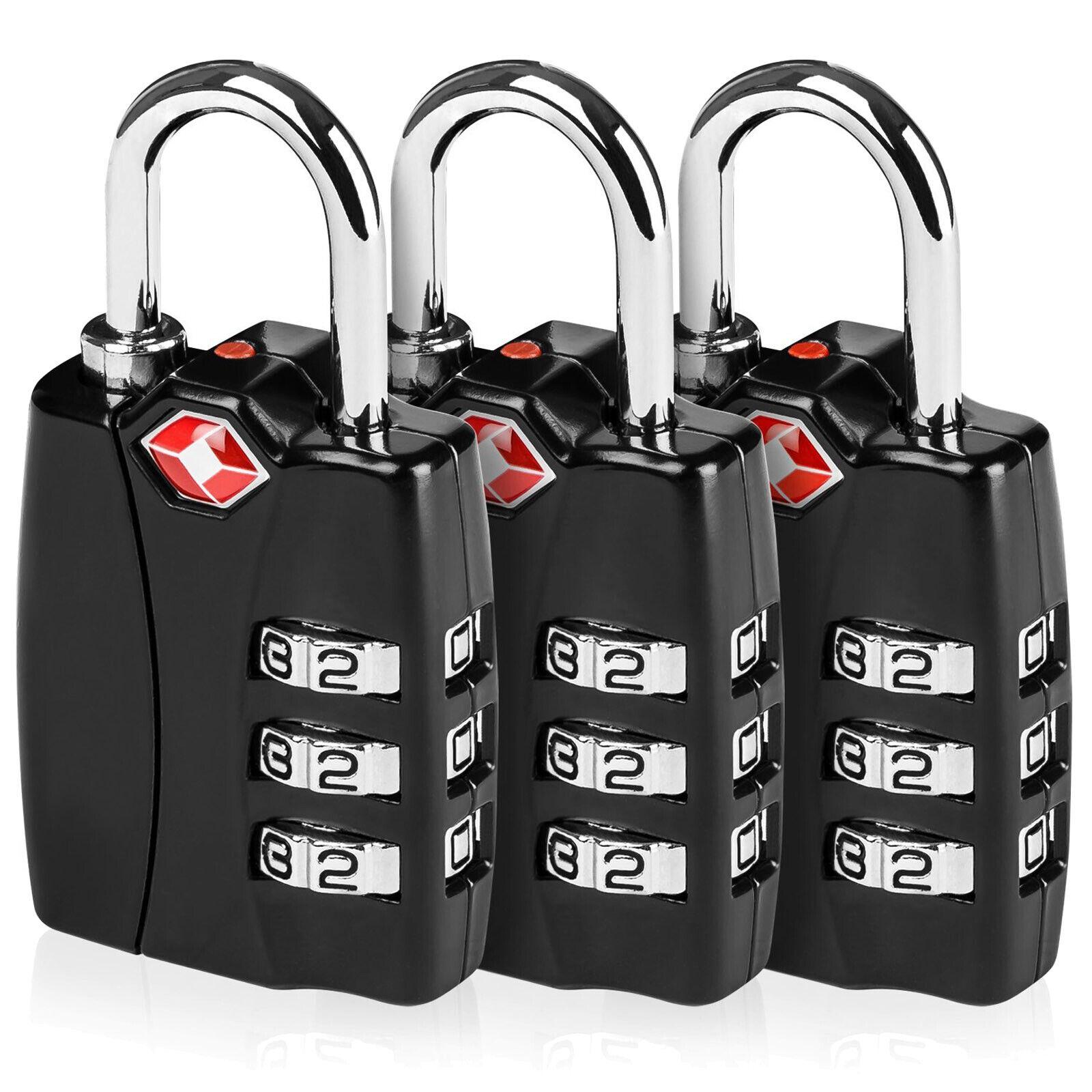 Zinc TSA Luggage Locks 3 Digit Combination Steel Padlocks Approved Travel Lock - $10.44