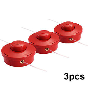 3pcs Strimmer Brushcutter Bump Feed Line Spool Head Fits Brush Cutters Universal