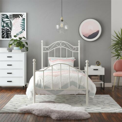 White Twin Bed Frame, Headboard, Footboard, Scrolled Metalwork, Guest, Kids Bed