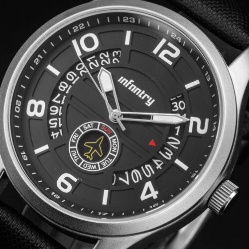 $24.80 - INFANTRY Mens Quartz Wrist Watch Date Day Black Leather Sport Military Luxury US