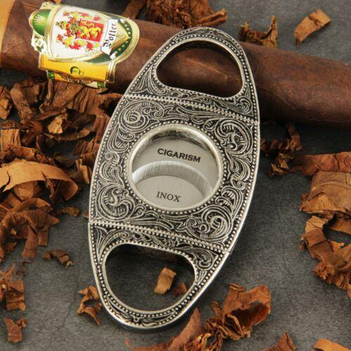 CIGARISM High-end Antique Silver Copper Flower Carving Vintage Cigar Cutter
