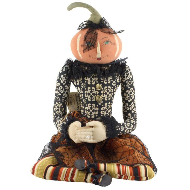 Gathered Traditions Joe Spencer Paris Pumpkin Head Halloween Fall Lady Doll
