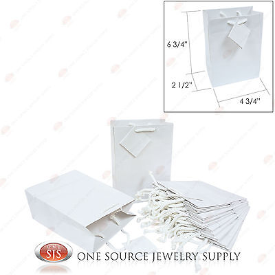 12 Solid Glossy White Tote Gift Merchandise Bags 4 3/4