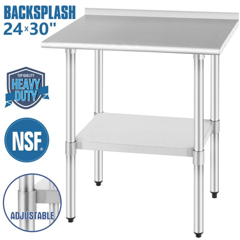 """24""""x30"""" Commercial Stainless Steel Kitchen Prep Work Table Backsplash Restaurant"""