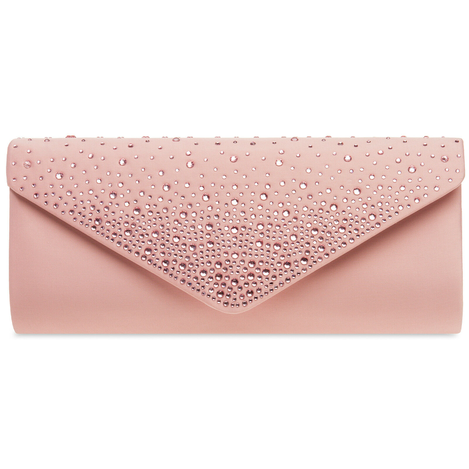 CASPAR TA422 Damen Clutch Tasche Abendtasche Baguette Briefumschlag Altrosa Rosa