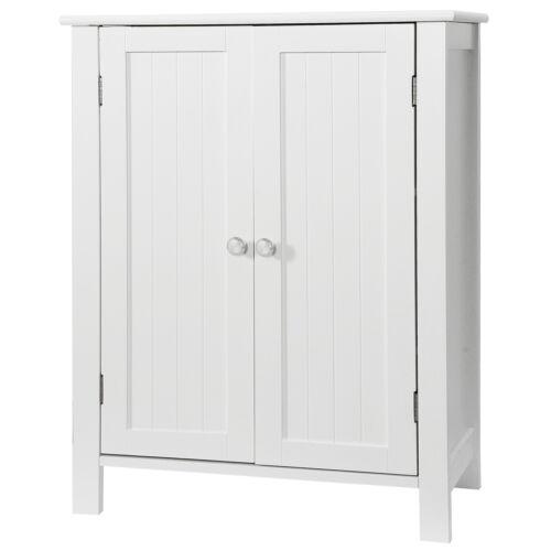 Wooden Floor Cabinet Bathroom Storage Cabinet 2 Door Freestanding Toiletries Bath