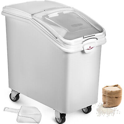 Commercial 21 Gallon Dry Ingredient Storage Bin Clear Lid Casters With Scoop
