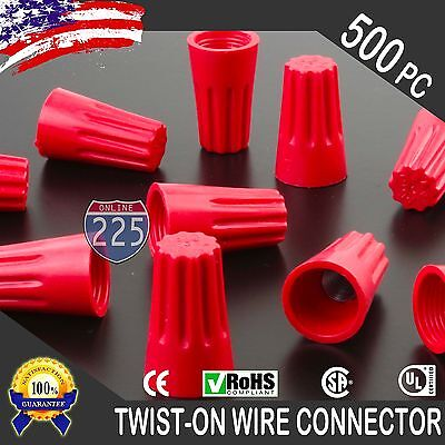(500) Red Twist-On Wire GARD Connector Conical nuts 18-10 Gauge Barrel Screw US