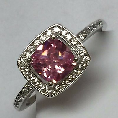 (Gorgeous Princess cut 2ct Pink Sapphire 925 Solid Sterling Silver Ring sz 9.25)