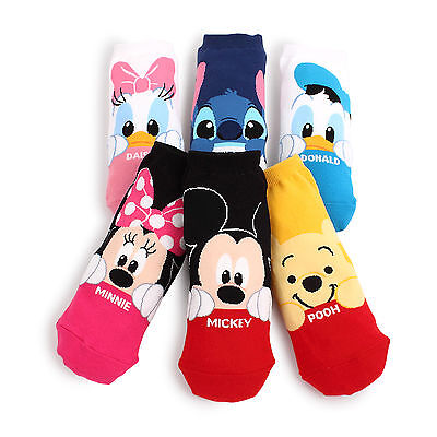 (6 Pairs) Disney Peekaboo Socks Women Kids Girls Boys Mickey Pooh CF16