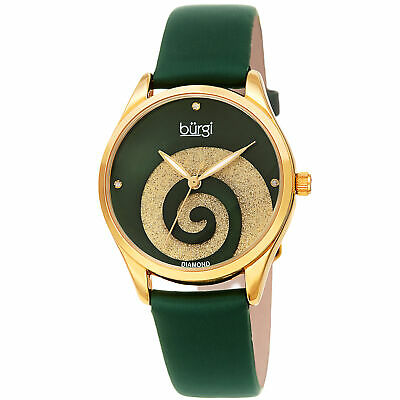 Women's Burgi BUR201GN Swarovski Swirl Diamond Marker Satin Leather Strap Watch