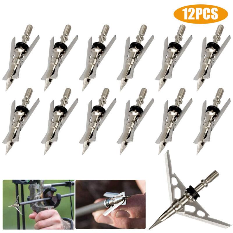 "12Pcs 100Grain Archery Hypodermic Broadheads 2"" Dia Expandable Arrowheads 2Blade"