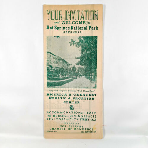 1948 Hot Springs National Park Vintage Travel Brochure Arkansas Map Guide AR