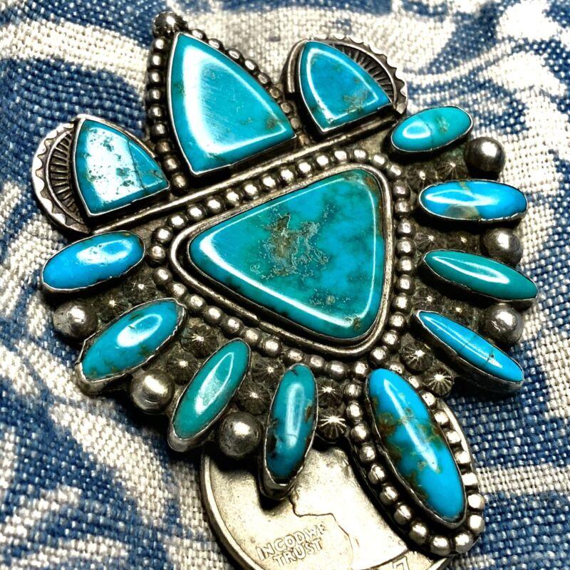 1930s RARE Fella Casa Appa Big Royston Brooch Blue Gem Zuni Turquoise Silver