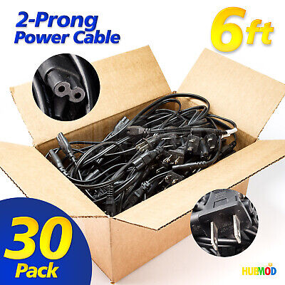 Lot of 30 6FT 2-Prong Printer Monitor Notebook Laptop Power Supply Cords Cable 2 Prong Notebook Cable