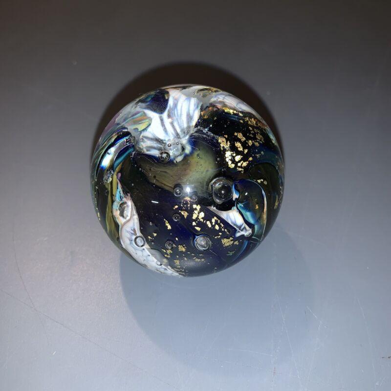 robert held art glass paperweight gold flakes swirl ball canada bubble