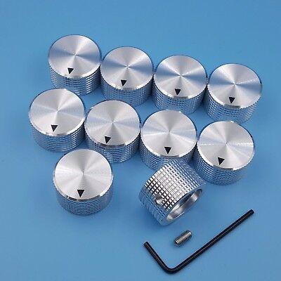 10pcs Silver Aluminum 6mm Dia Rotary Control 25 X 15.5mm Potentiometer Knob
