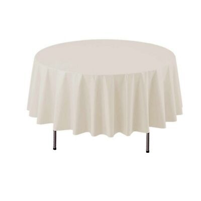 Ivory Round Plastic Table Covers (1 of Party Essentials 84