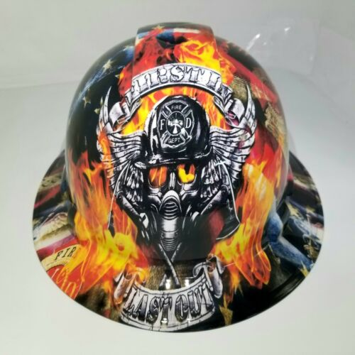 NEW FULL BRIM Hard Hat custom hydro dipped in , FIREFIGHTER FIRST IN , LAST OUT