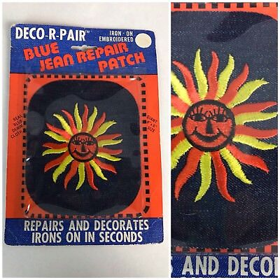 Vintage NOS 70s 1973 Denim Novelty Print Iron On Patch Jeans Embroidered