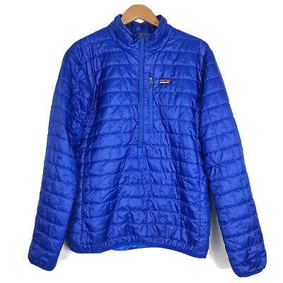 Patagonia Mens Size Large Nano Puff Half Zip Primaloft Jacket Blue