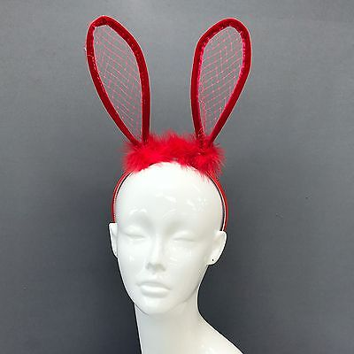 Trendy Red Fur Mesh Rabbit Bunny Ears Headband For Fancy Dress Costume Party  - Red Bunny Ears