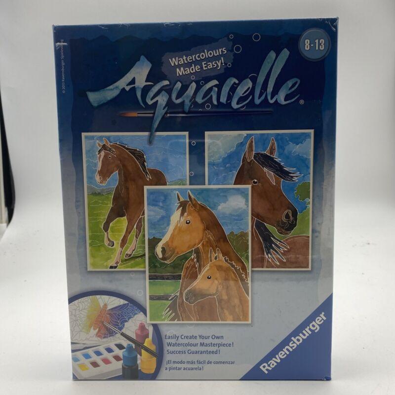 New! Kids / Adult Ravensburger Aquarelle Watercolor 3 Horse Picture Painting Kit
