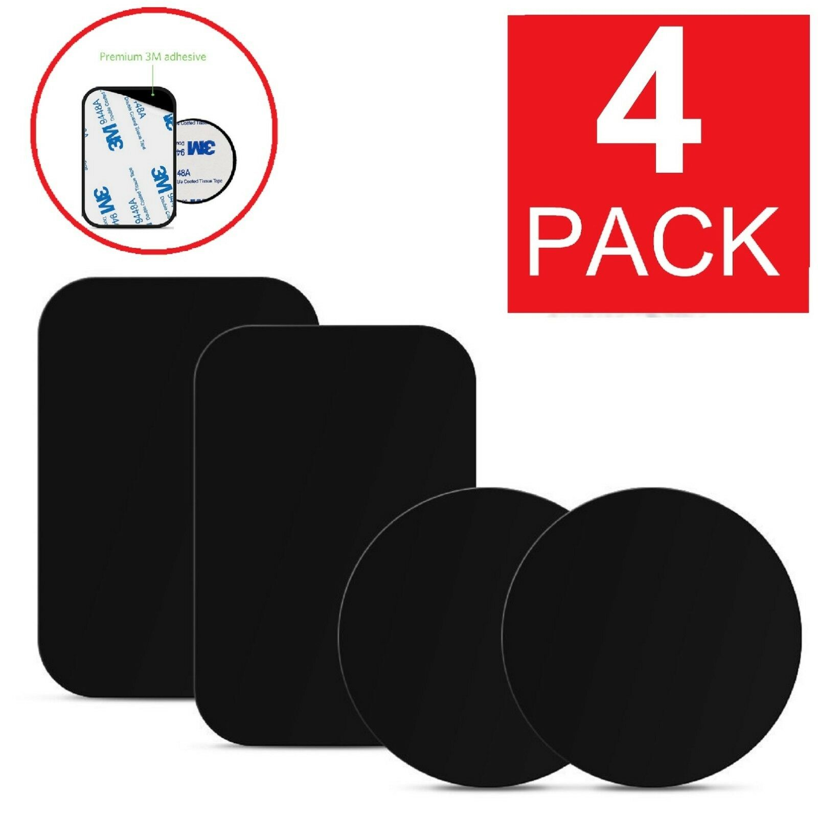 4-Pack Metal Plates Sticker Replace For Magnetic Car Mount M
