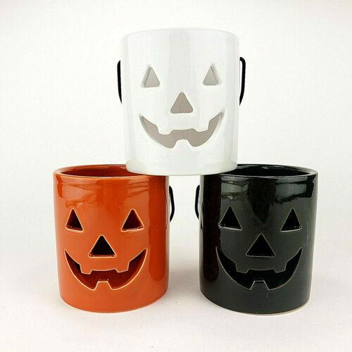 Jack O Lantern Pumpkin Tea Light Luminaries Ceramic Candle Holders Set of 3