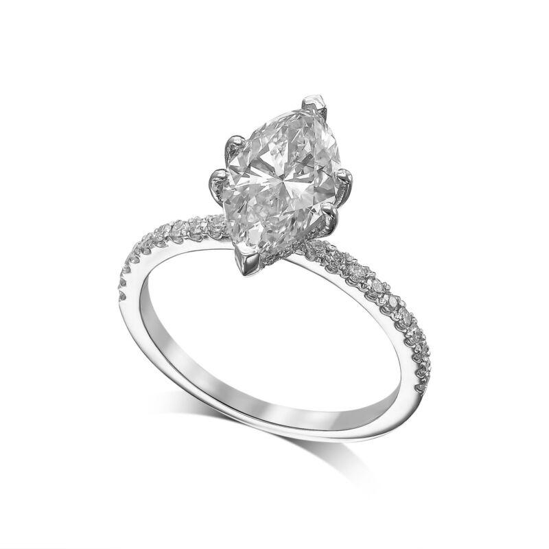 1.50 Carat Diamond Engagement Wedding Ring E Vs2 14k White Gold Marquise Shape