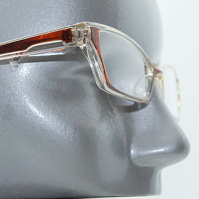Ombre Red Brown Crystal Modern Cat Eye +1.25 Reading Glasses Wide Frame ()
