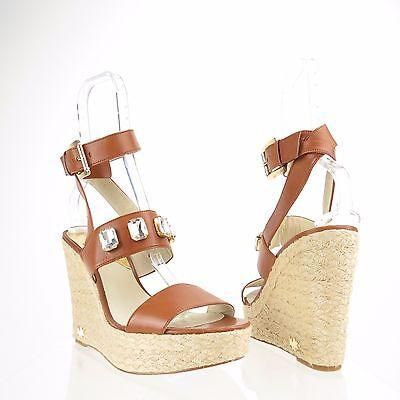 Women's Michael Kors Lynn Shoes Brown Leather Platform Wedge Sandals Sz 10 M NEW