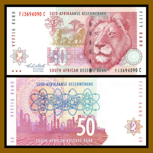 South Africa 50 Rand, 1992 P-125b Sig# 7 Lion Unc