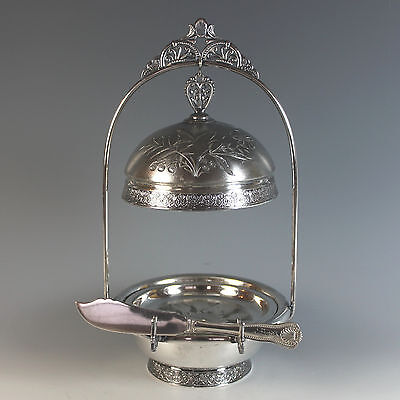 Pairpoint Silverplate Covered Butter Dish w Sterling Knife 1870's Silver Plate