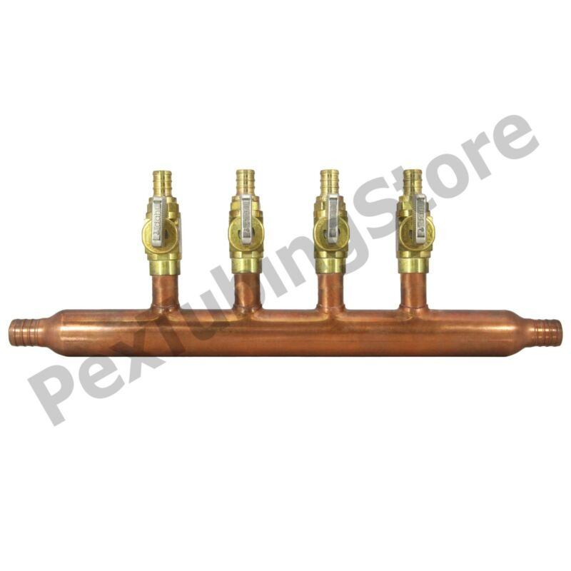 "4 Port 1/2"" PEX Manifold with Valves by Sioux Chief 672XV0499 OPEN"