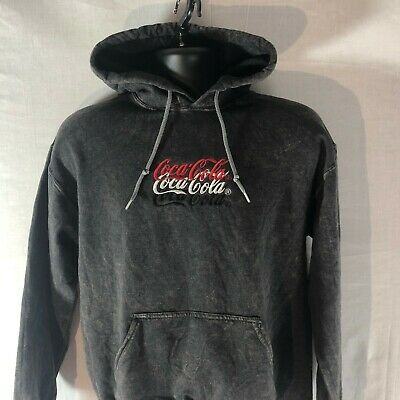 NWT Urban Outfitters Coca-Cola Embroidered Hoodie Size Small Stone Washed Hoody
