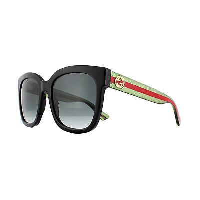 Gucci Sonnenbrille GG0034S 002 Schwarz, Glitzer Grün und Rot Grau Farbverlauf