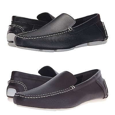 Calvin Klein Mens Miguel Diamond Perforated Slip On Moc Toe Driving Driver Shoes