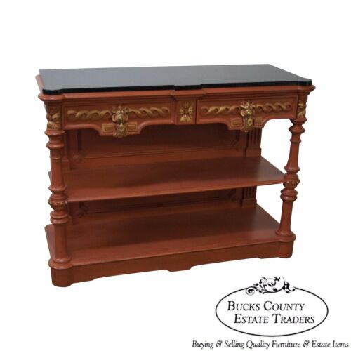 Custom Painted Antique Renaissance Revival Marble Top Server