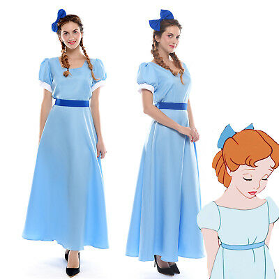 Wendy Costume (Peter Pan Wendy Darling Blue Cosplay Costume Dress + Headwear US Ship)