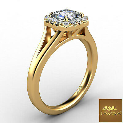 Asscher Diamond Engagement Halo Pre-Set Ring GIA F VS1 18k Yellow Gold 0.92Ct 2