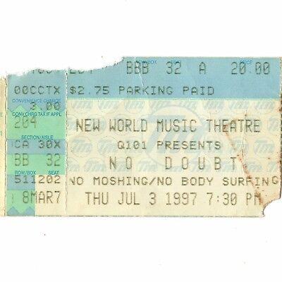NO DOUBT Concert Ticket Stub CHICAGO 7/3/97 WORLD TRAGIC KINGDOM GWEN STEFANI