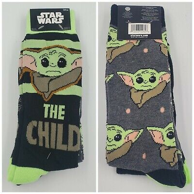 2 Pair Star Wars Crew Socks, Adult Shoe 6-12, Mandalorian Yoda, Gift L8, MP