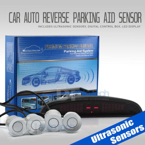 4 Parking Silver Sensors LED Backup Reverse Rear Radar System Alert Alarm Kit