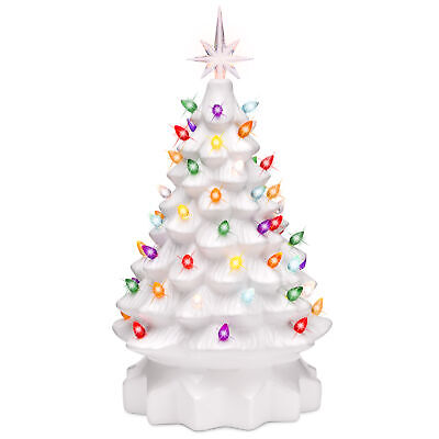 BCP 15in Pre-Lit Hand-Painted Ceramic Tabletop Christmas Tree w/ 64 Lights ()