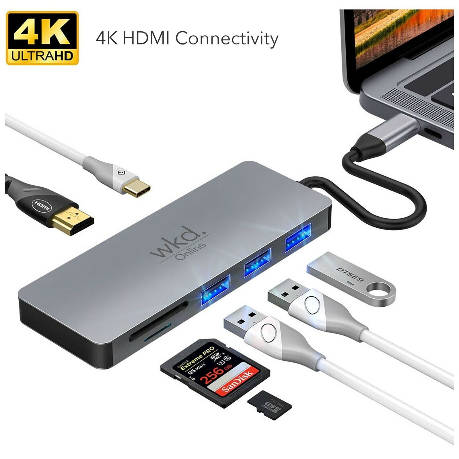 USB C Hub with 4K HDMI 3 x USB and SD Card 7 in 1 for MacBook and Type C Devices