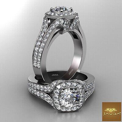 Split Shank Halo Pave Round Cut Diamond Engagement Wedding Ring GIA H VS2 2.12Ct